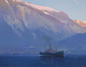 Image: Early Morning Juneau, Alaska, by Sydney Laurence, c.1920. Purchased for the Juneau-Douglas City Museum permanent collection with funds raised by the Friends. JDCM2010.24.001