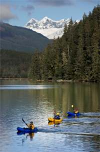 Paddlers in Auke Lake